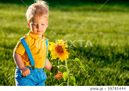 One year old baby boy looking at sunflower 39785444