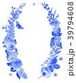 水彩画 ブルー フローラルのイラスト 39794608