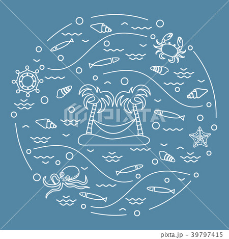 octopus, fish, island with palm trees and a 39797415