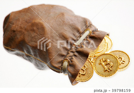 Coins of Bitcoin in a leather pouch 39798159