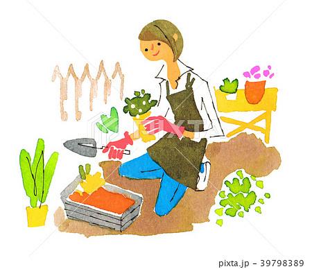ガーデニングをする女性のイラスト素材 39798389 Pixta