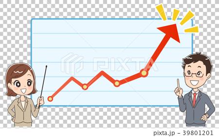 ビジネスマンとグラフ 業績のイメージイラスト 39801201