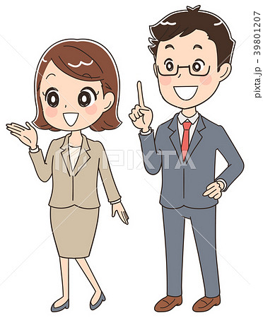 案内する会社員 男女のイラスト 39801207