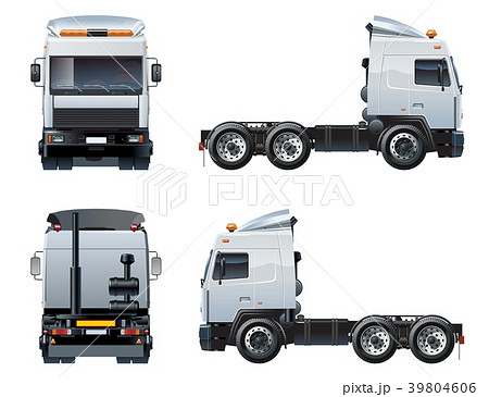 Vector semi-truck template isolated on white 39804606