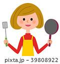 主婦 女性 エプロンのイラスト 39808922