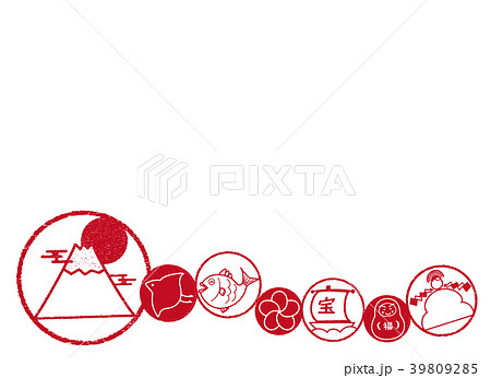 縁起物素材 丸枠 紅白 ライン 背景 39809285