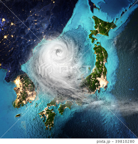 Cyclone weather Japan and Korea. 3D rendering 39810280