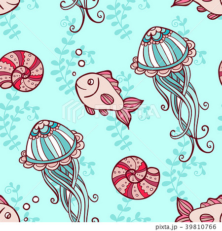 Seamless pattern with jellyfish and fish 39810766