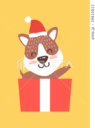 Teddy Bear in Santa Hat Waving Hand from Gift Box 39810813