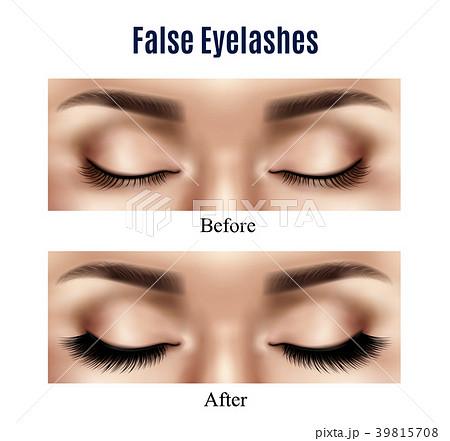 Eyes False Lashes Realistic Illustration 39815708