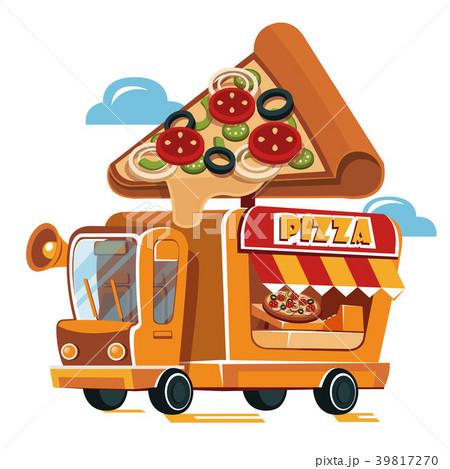 Cute Pizza Car. Fast food truck. 39817270