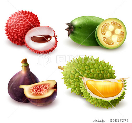 Realistic Exotic Fruits Set 39817272
