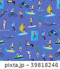 Cartoon Extreme Sports People Seamless Pattern 39818246