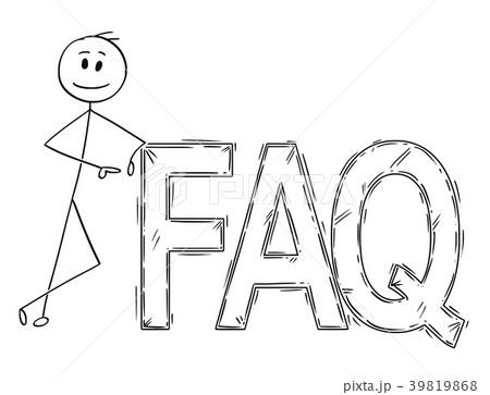 Cartoon of Man or Businessman leaning on Big FAQ 39819868