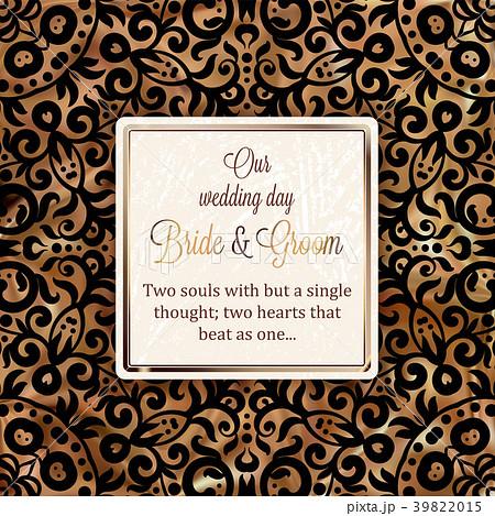 gold wedding invitation card template design のイラスト素材