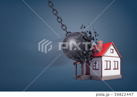 3d rendering of a giant wrecking ball breaks in 39822447