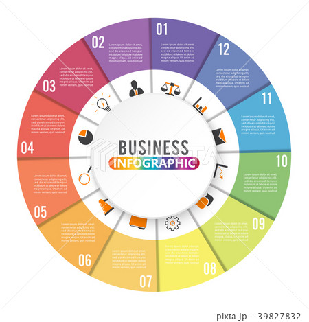 circle chart infographic template with 12 options のイラスト素材