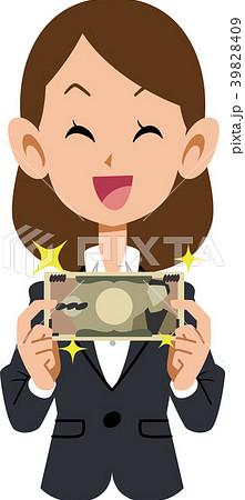 紙幣を持って喜ぶ女性 会社員 39828409