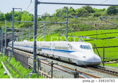 新緑の茶畑と新幹線 39839765