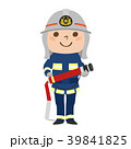 ホースを持って練習する男性消防隊のイラスト。 39841825