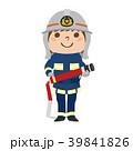 ホースを持って練習する女性消防隊のイラスト。 39841826