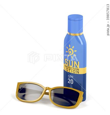 Sunscreen lotion and female sunglasses 39857813