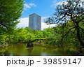 若葉と新緑の日比谷公園の鶴の噴水と東京ミッドタウン日比谷 39859147
