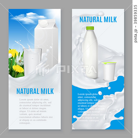 Realistic Dairy Products Banners 39859335