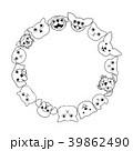 犬と猫の顔のサークル 39862490