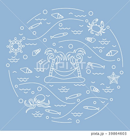 octopus, fish, island with palm trees and a 39864603