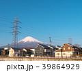 富士山と高圧電線と住宅(静岡県富士宮市)3月 39864929