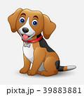 Cute dog cartoon sitting isolated on white backgro 39883881