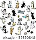 猫 セット ポーズのイラスト 39890848