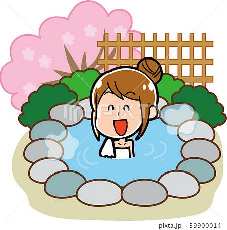露天風呂・温泉に入る女性のイラスト素材(春) 39900014