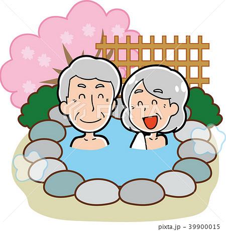 露天風呂・温泉に入る老夫婦のイラスト素材(春) 39900015