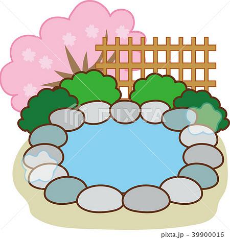 露天風呂・温泉のイラスト素材(春) 39900016