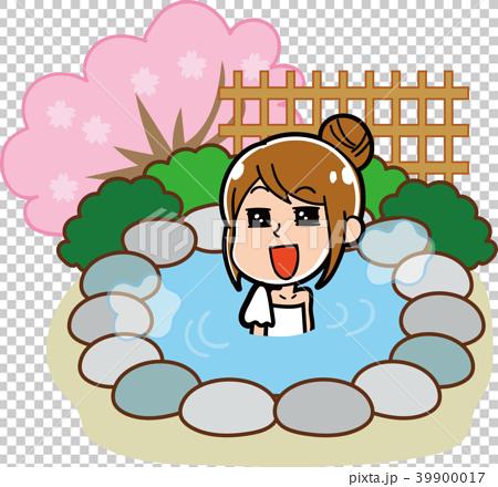 露天風呂・温泉に入る女性のイラスト素材(春) 39900017