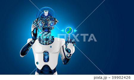Robot head with headset. Robot receives the call 39902426