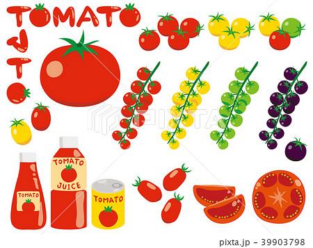 いろいろな種類のシンプルなトマトのイラスト 39903798