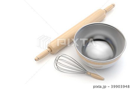 Wire whisk, wooden rolling pin and chrome bowl. 3D 39903948