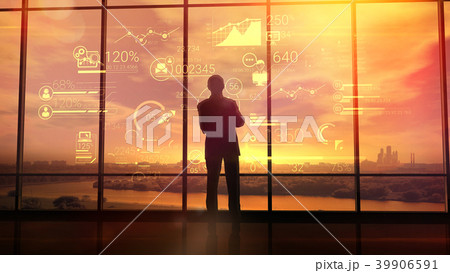 Corporate infographics and men in the office 39906591