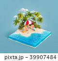 Deck chairs on a sand beach 39907484