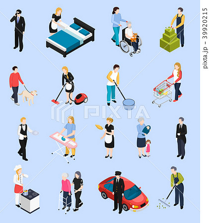 Home Staff Isometric Icons 39920215