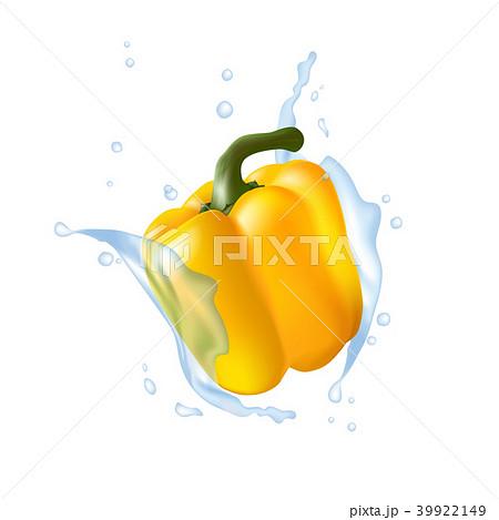 Yellow bell pepper. Water splashing. Realistic 3d 39922149