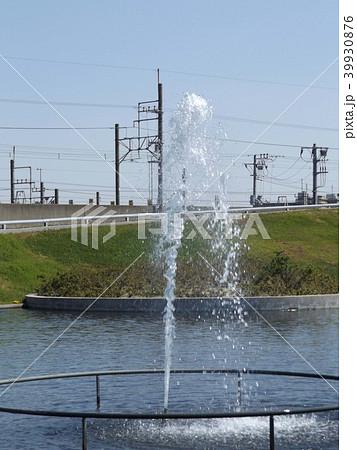 サクラ広場のカルガモ池の噴水 39930876