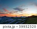 夕暮れの飯豊本山と大日岳 39932320