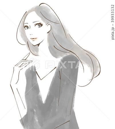 手描き 大人の女性 水彩風 39933132