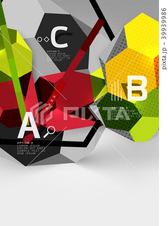 3d hexagon geometric composition, geometric digital abstract background 39939986