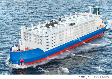 Livestock carrier ship in ocean, 3D rendering 39941889