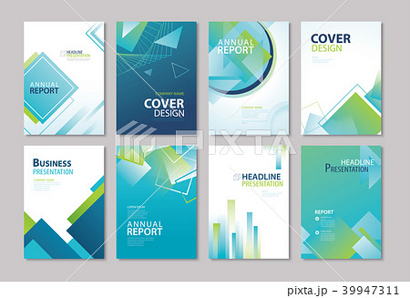 set of blue cover annual report templates のイラスト素材 39947311